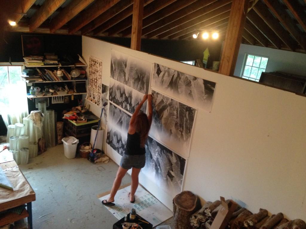 Sally preparing the Kalo imagery on Habotai silk.